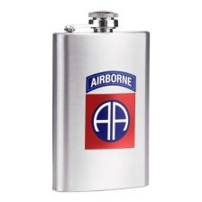 Zakfles 5 ounce 82nd Airborne RVS zilver/chroom